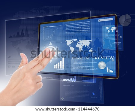 Hand with touch screen technology - stock photo