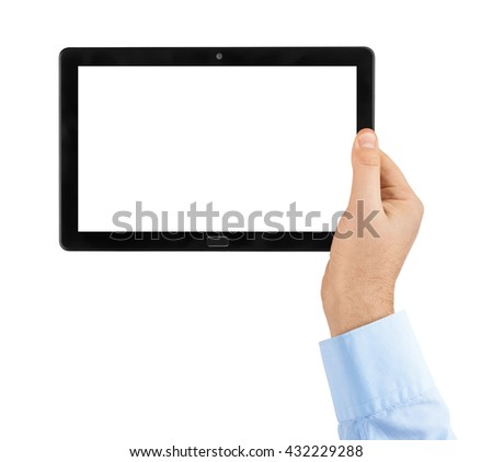 Hand with touchpad pc isolated on white background - stock photo