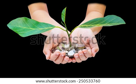 Hand with tree  from pile of coins black background - stock photo