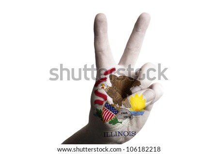 Hand with two finger up gesture in colored illinois state flag as symbol of winning,  - for tourism and touristic advertising, positive political, cultural, social management of country - stock photo