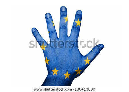 hand with UE flag - stock photo