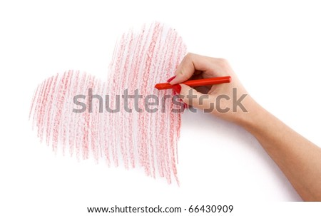 Hand with wax crayon drawing heart - stock photo