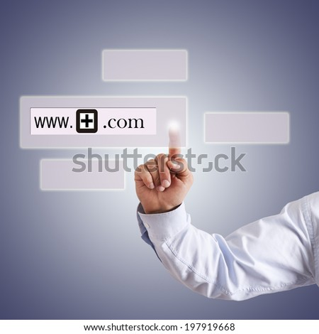 hand with website