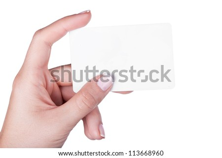 Hand with white card, isolated on white background - stock photo