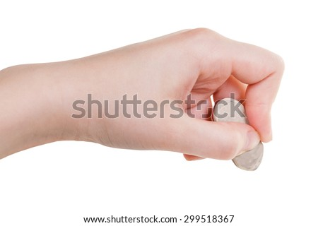 hand with white rubber eraser close up isolated on white background