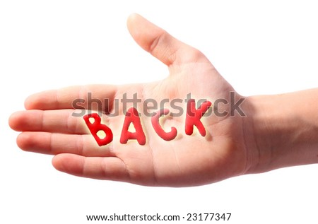 Hand with word  Back