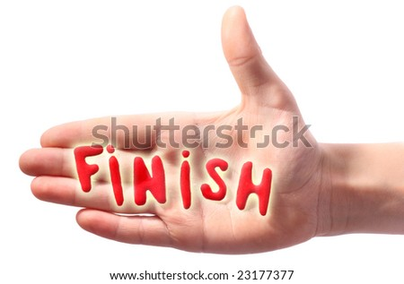 Hand with word Finish