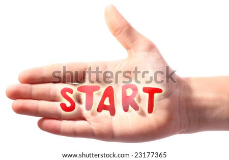 Hand with word Start