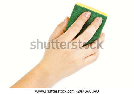 Hand with yellow sponge on white background - stock photo