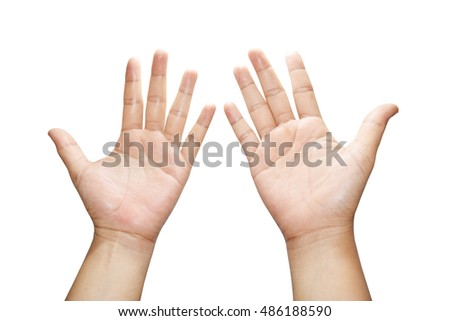 hand women showing ten fingers isolated on white background.
