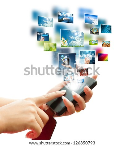 hand women touch smart phone in hand on white background
