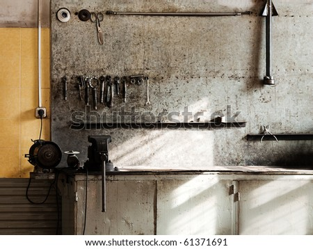 Hand work repair equipment tool workshop workbench - stock photo
