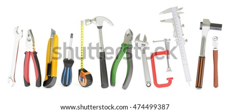 hand work tools, 3D rendering isolated on white background