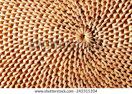 Hand-woven wicker surface, natural colors.Asymmetrical composition,dynamic,material    like.Landscape format. - stock photo