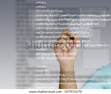 Hand write a html source code - stock photo
