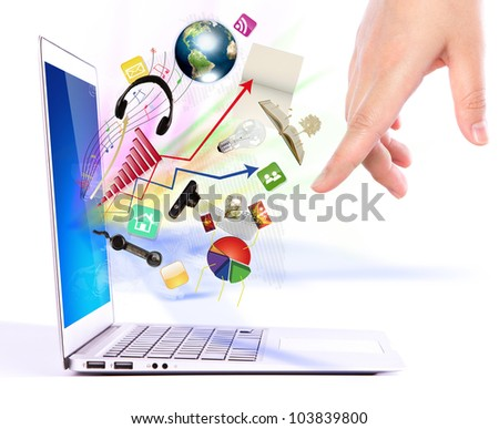 Hand write on modern laptop  (Elements of this image furnished by NASA) - stock photo
