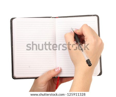 Hand write on notebook, isolated on white