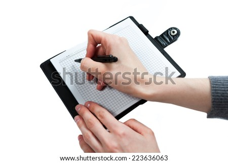 Hand write on notebook on white background
