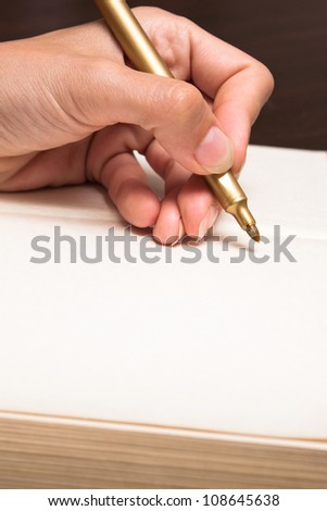 Hand write on white paper - stock photo