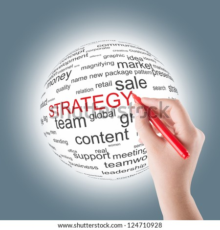Hand write strategy word on a sphere - stock photo