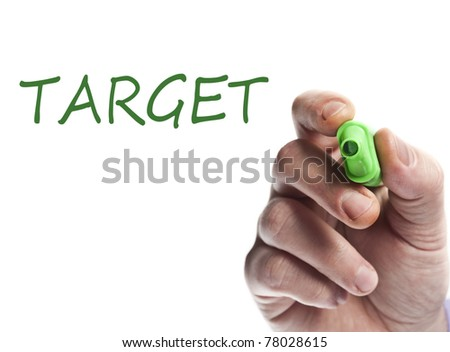 Hand write with green marker target