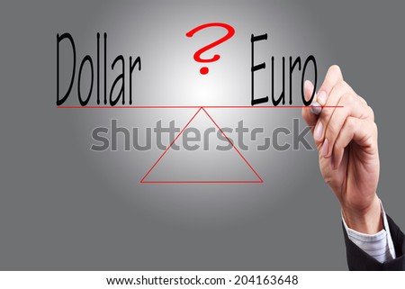 hand write word dollar euro weight compared with pen on transparent glass concept for business success