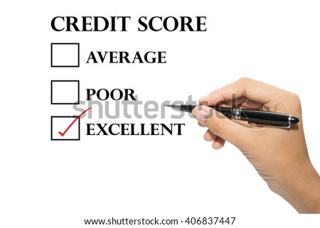 Hand writing a credit score concept.