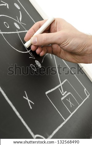 Hand writing a football strategy on a chalkboard. - stock photo