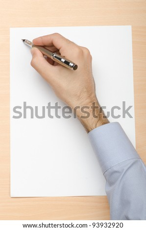 Hand writing a letter - stock photo