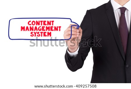 Hand writing a word CONTENT MANAGEMENT SYSTEM on white board - stock photo