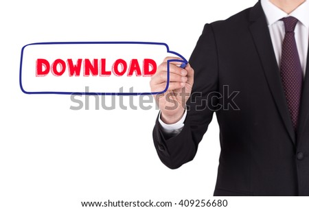 Hand writing a word DOWNLOAD on white board - stock photo