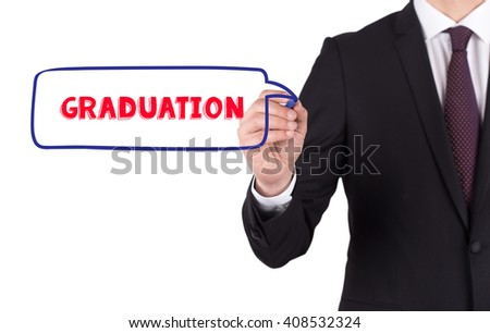 Hand writing a word GRADUATION on white board - stock photo