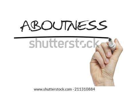Hand writing aboutness on a white board - stock photo