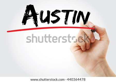 Hand writing Austin with marker, concept background - stock photo