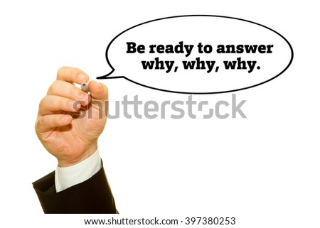 "Hand writing ""Be ready to answer why,why,why."" on a transparent wipe board."