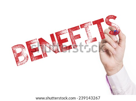 Hand writing benefits. Hand writing benefits with a red mark on a transparent board