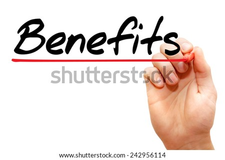 Hand writing Benefits with marker, business concept  - stock photo
