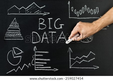 Hand Writing Big Data Text On Blackboard With Chalk With Different Types Of Diagram - stock photo