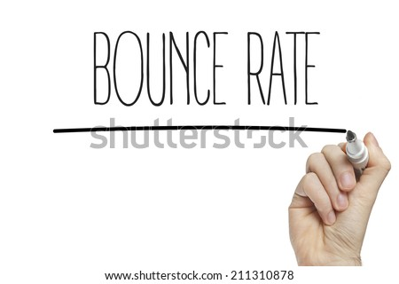 Hand writing bounce rate on a white board - stock photo