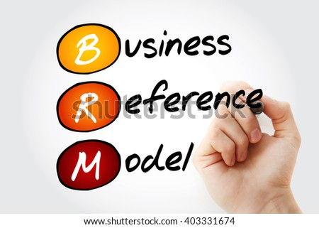 Hand writing BRM - Business Reference Model with marker, acronym business concept - stock photo