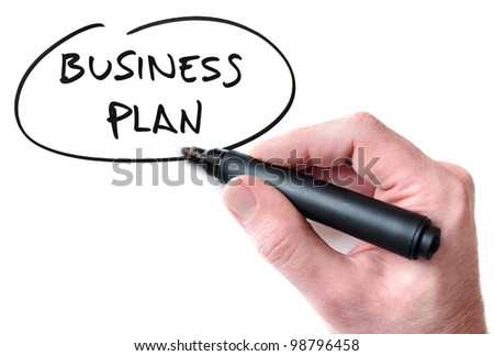 Hand writing Business Plan on whiteboard - stock photo