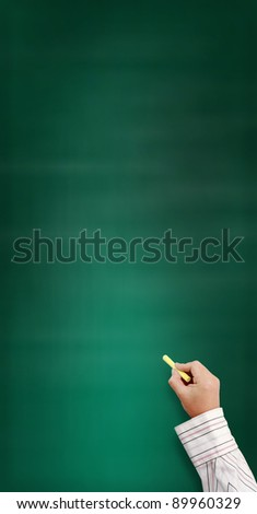 hand writing by yellow chalk on a Vertical blackboard. Useful as background space for text or image