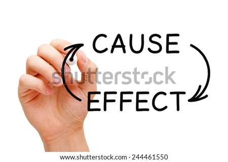 Hand writing Cause and Effect concept with black marker on transparent wipe board. - stock photo