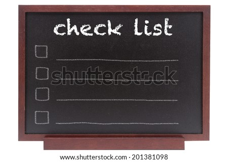 hand writing check list on chalkboard over white background with clipping path - stock photo