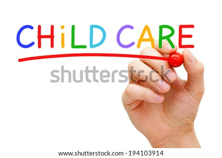 Hand writing Child Care with marker on transparent wipe board. - stock photo