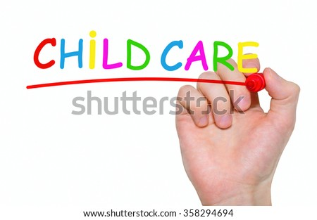 Hand writing Child Care with red marker on transparent wipe board, business concept - stock photo