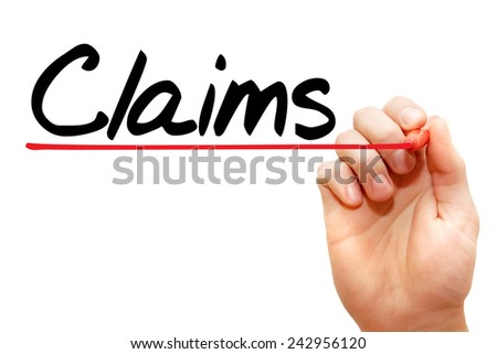 Hand writing Claims with marker, concept  - stock photo