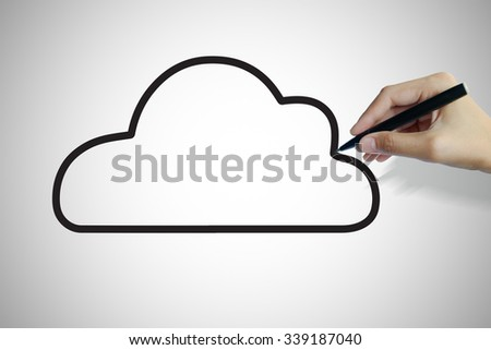 hand writing  cloud , business idea , business concept  - stock photo