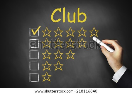 hand writing club on chalkboard golden rating stars
