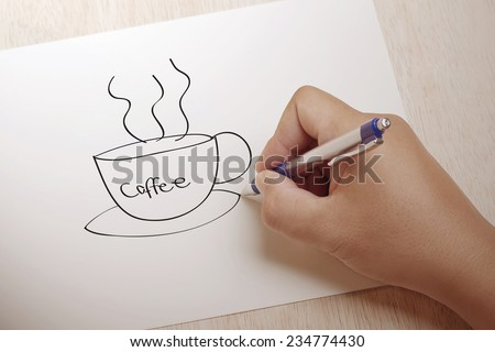 Hand writing Coffee on paper - stock photo
